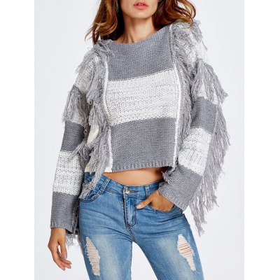 Fringed Color Block Cropped Sweater