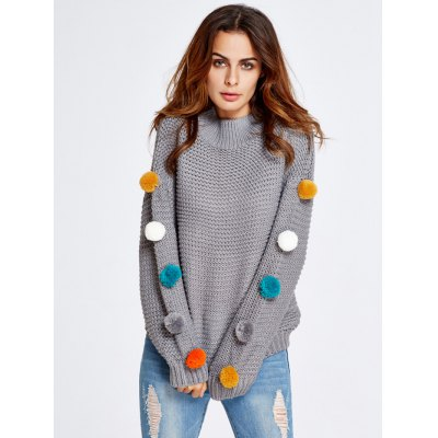 Thick Pompon Detailed Preppy Sweater