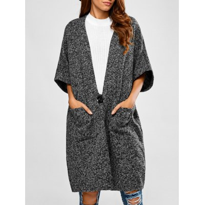 Heathered Loose Buttons Cardigan