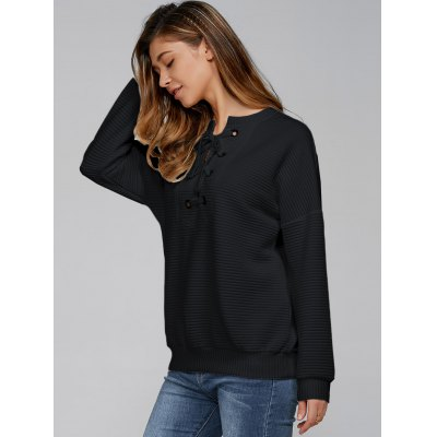 Lace-Up Ribbed SweatshirtSweatshirts &amp; Hoodies<br>Lace-Up Ribbed Sweatshirt<br><br>Material: Polyester<br>Clothing Length: Regular<br>Sleeve Length: Full<br>Style: Casual<br>Pattern Style: Solid<br>Season: Fall,Spring,Winter<br>Weight: 0.390kg<br>Package Contents: 1 x Sweatshirt