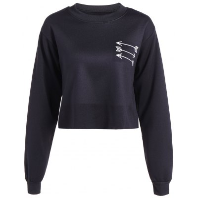 Arrow Print Fleece Cropped Sweatshirt