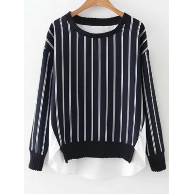 Patched Striped Jumper Sweatshirt