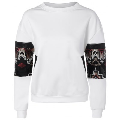 Sequined Patched Sweatshirt