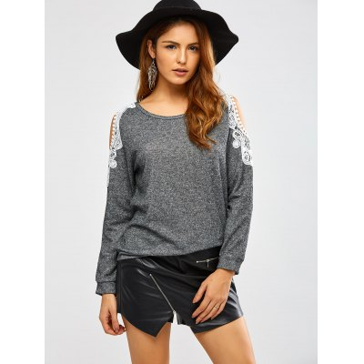Lacework Splicing Cold Shoulder SweatshirtSweatshirts &amp; Hoodies<br>Lacework Splicing Cold Shoulder Sweatshirt<br><br>Material: Cotton Blend<br>Clothing Length: Regular<br>Sleeve Length: Full<br>Style: Casual<br>Pattern Style: Others<br>Season: Fall,Spring<br>Weight: 0.450kg<br>Package Contents: 1 x Sweatshirt