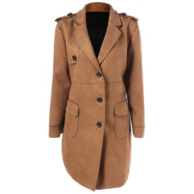 Sueded Lapel Coat