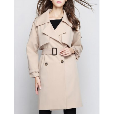 Double Breasted Trench Coat with Epaulet