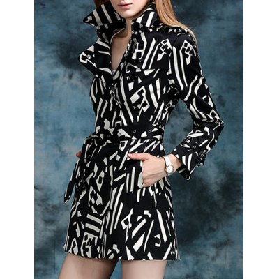 Geometric Double Breasted Trench Coat