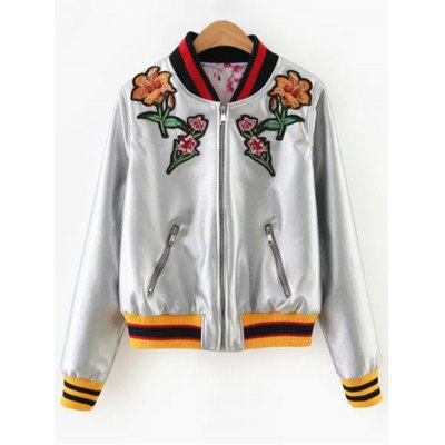 Bomber Floral Embroidery Jacket