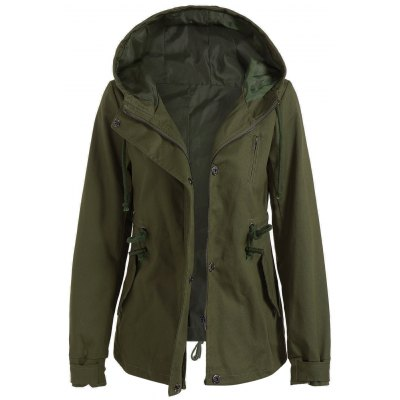 Drawstring Hooded Utility Jacket