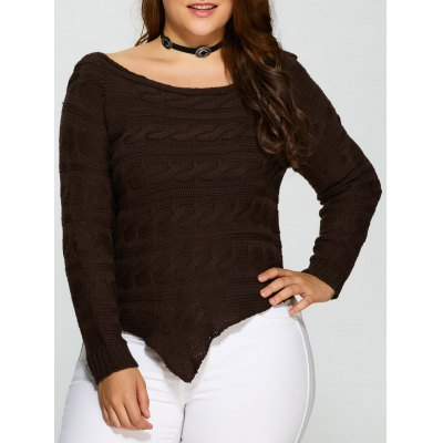 Plus Size Asymmetric Hem Cable Knit Sweater