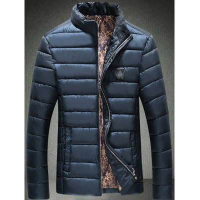 Stand Collar Zip Up Logo Padded Jacket