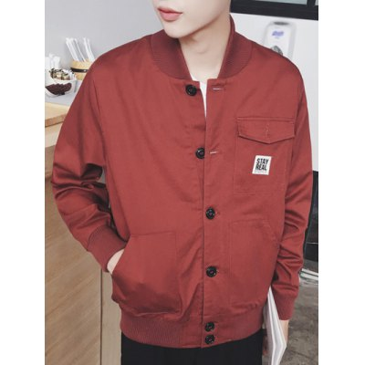 Stand Collar Rib Splicing Single Breasted Jacket