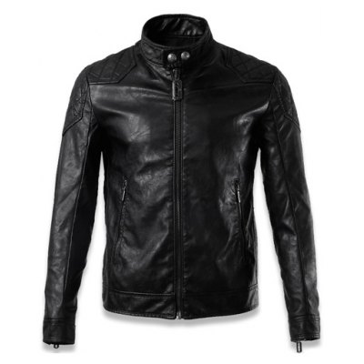 Quilting Insert Zippered Faux Leather Jacket