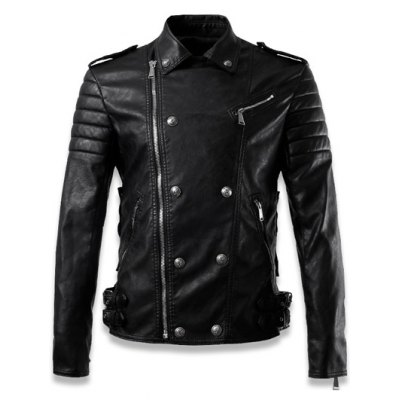 Side Zip Up Buckled Faux Leather Jacket