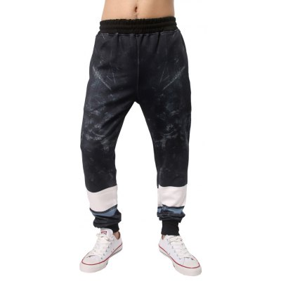 Color Block Elastic Waist Jogger Pants