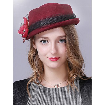 Flower Feather Lace Band Pillbox Hat