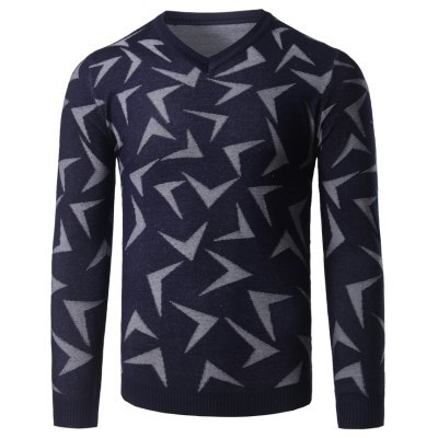V Neck Abstract Pattern Pullover Sweater
