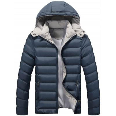 Zip Up Pocket Design Hooded Padded Jacket