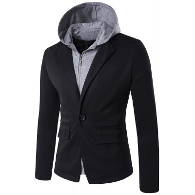 Faux Twinset Hooded Zip-Up Spliced One-Button Jacket