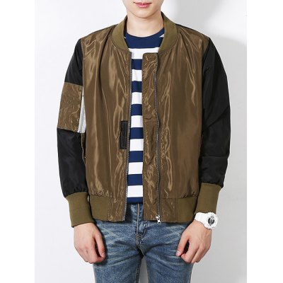 Stand Collar Color Block Bomber Jacket
