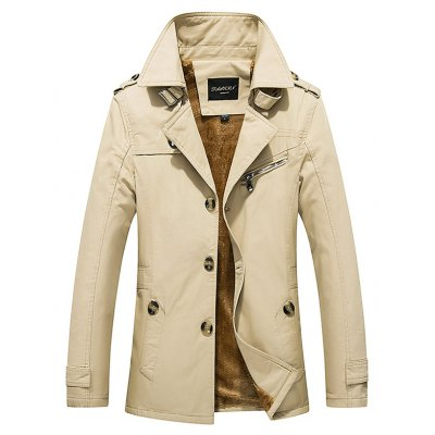 Epaulet Design Buckled Flocking Jacket