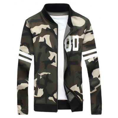 Striped Camo Elastic Cuff Zip Up Jacket