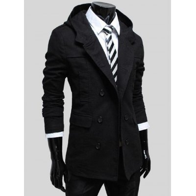 Lapel Collar Double Breasted Hooded Coat