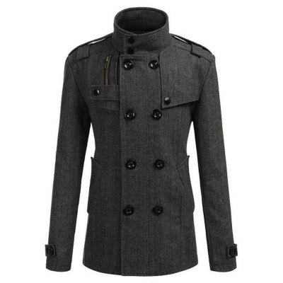 Stand Collar Epaulet Embellished Double Breasted Coat