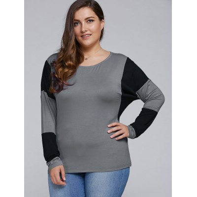 Plus Size Batwing Sleeve Splicing T-Shirt