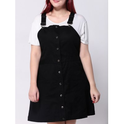 Plus Size Button Front Cord Pinafore Dress