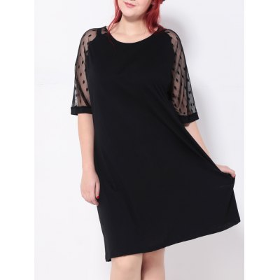 Plus Size Polka Dot Casual Shift Dress With Sleeve