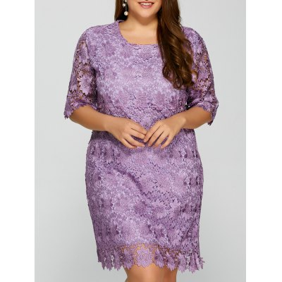 Plus Size Knee Length Openwork Sheer Lace Dress