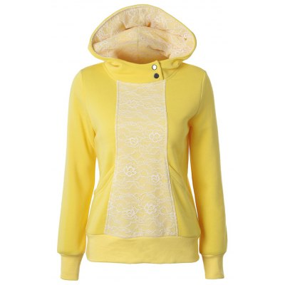 Lace Detail Pullover Yellow Hoodie
