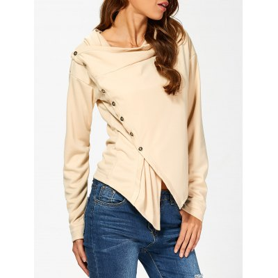 Buttoned Draped Waterfall Hoodie