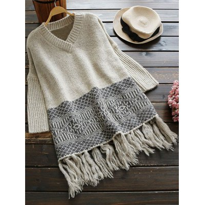 V Neck Jacquard Tassels Sweater