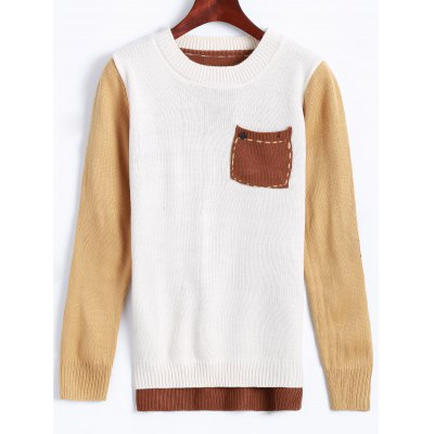 Jewel Neck Pocket Patched Color Block Sweater