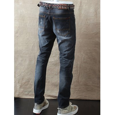 Slim Fit Zipper Fly Distressed Jeans