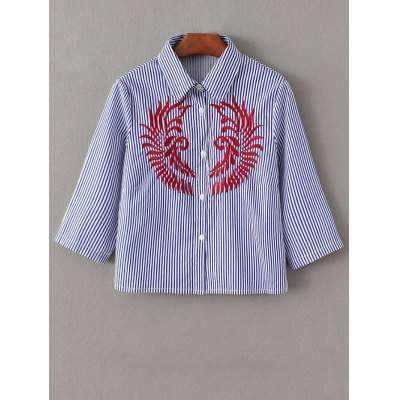 Embroidered Striped Button Up Cropped Shirt