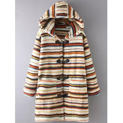 Stripe Fluffy Coat With Hood