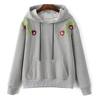 Embroidered String Thick Hoodie