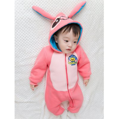 Hooded with Ear Detail Color Block Cartoon Jumpsuit