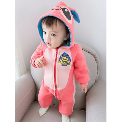Hooded with Ear Detail Color Block Cartoon JumpsuitGirls Clothing<br>Hooded with Ear Detail Color Block Cartoon Jumpsuit<br><br>Material: Cotton Blends<br>Fit Type: Regular<br>Pattern Type: Character<br>Style: Casual<br>With Belt: No<br>Weight: 0.438kg<br>Package Contents: 1 x Jumpsuit