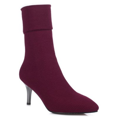 Knitting Pointed Toe Mid Calf Boots