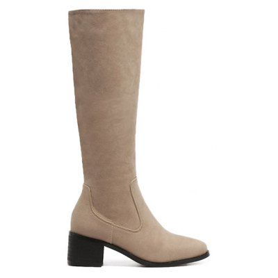 Zip Up Knee High Chunky Heel Boots