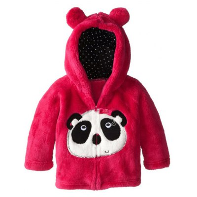Kids Cartoon Panda Hooded Fleece Coat