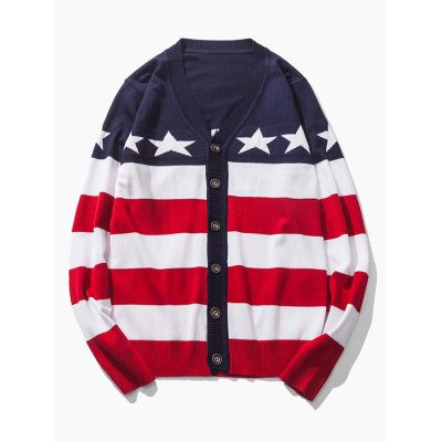 V-Neck Star and Stripe Pattern Single-Breasted Cardigan