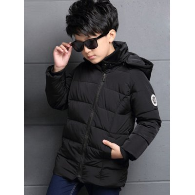 Zipped Hooded Patched Puffer Coat