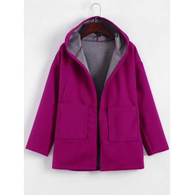 Hooded Candy Color Long Open Front Coat