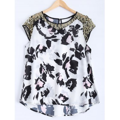 Sequined Mesh High Low Printed Top