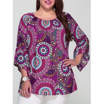 Plus Size Colorful Print Spliced Sleeve Blouse